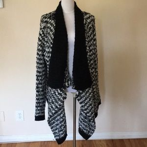 Loft black and white open cardigan sweater